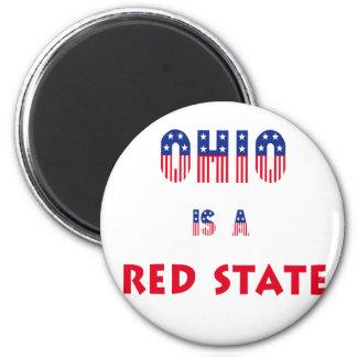 Ohio es un estado rojo imán redondo 5 cm