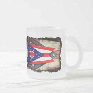 OHIO FLAG FROSTED GLASS COFFEE MUG