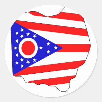 Ohio Flag Map Classic Round Sticker