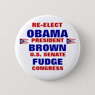 Ohio for Obama Brown Fudge Pinback Button
