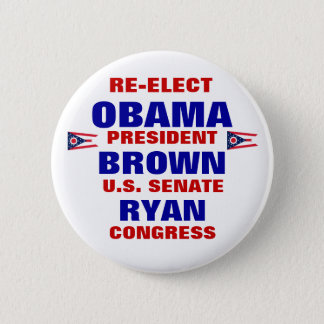 Ohio for Obama Brown Ryan Pinback Button