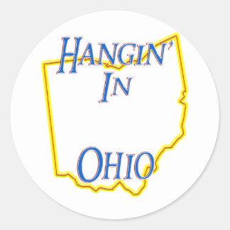 Ohio - Hangin Pegatina Redonda