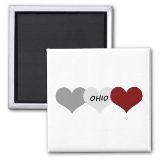 Ohio Heart 2 Inch Square Magnet