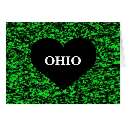 Ohio Heart Green Greeting Card