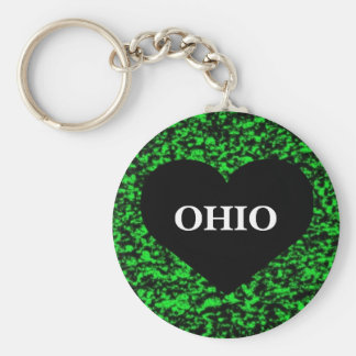 Ohio Heart Green Key Chains