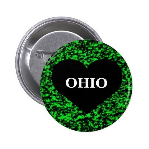 Ohio Heart Green Pinback Buttons