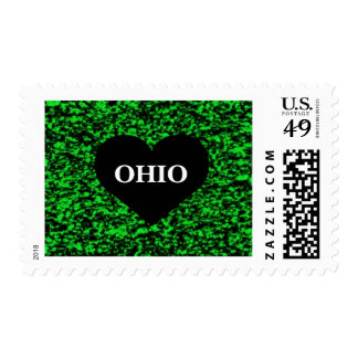 Ohio Heart Green Postage Stamps