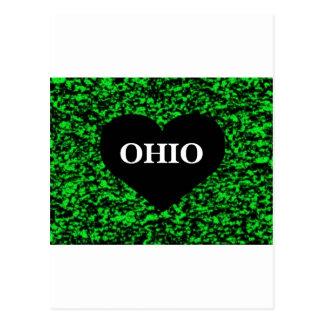 Ohio Heart Green Postcard