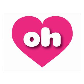 Ohio hot pink heart - mini love postcard