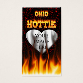 Ohio Hottie fire and red marble heart. Business Card