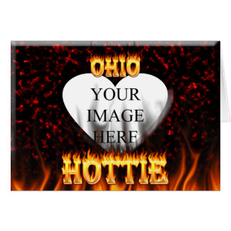 Ohio Hottie fire and red marble heart. Card