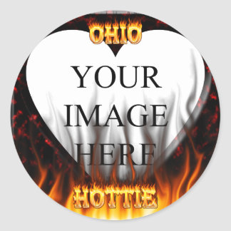 Ohio Hottie fire and red marble heart. Stickers