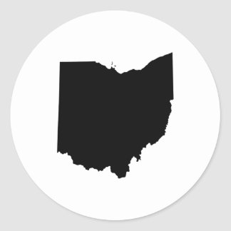Ohio in Black and White Round Stickers