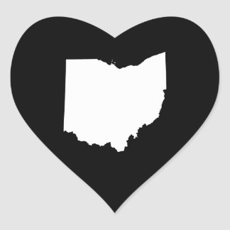Ohio in White and Black Heart Sticker