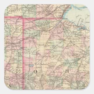 Ohio, Indiana 2 Square Sticker