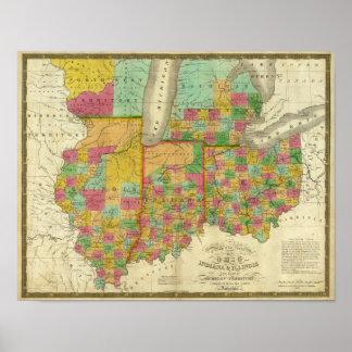 Ohio, Indiana, and Illinois Poster