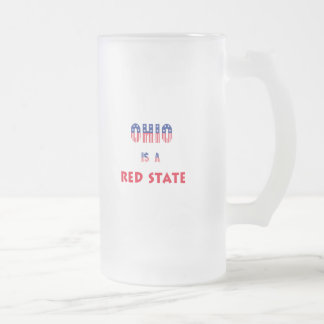 Ohio is a Red State Frosted Glass Beer Mug