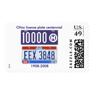 Ohio license plate centennial postage