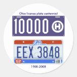 Ohio license plate centennial classic round sticker