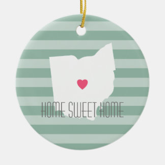 Ohio Map Home State Love with Custom Heart Ceramic Ornament