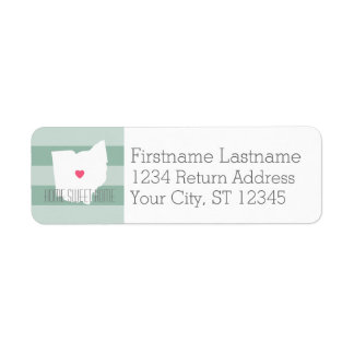 Ohio Map Home State Love with Custom Heart Label
