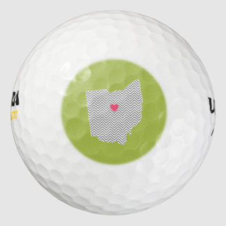 Ohio Map Home State Love with Optional Heart Pack Of Golf Balls
