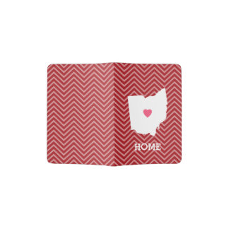 Ohio Map Home State Love with Optional Heart Passport Holder