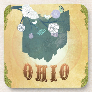 Ohio Map With Lovely Birds Coaster