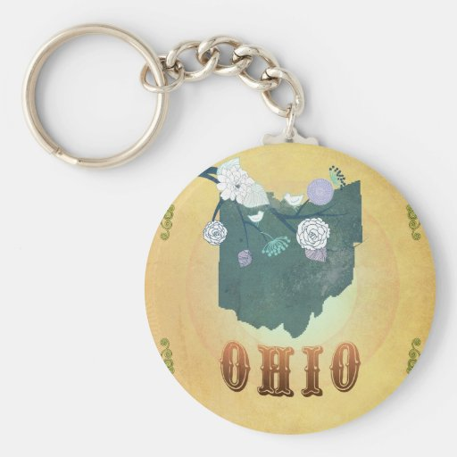 Ohio Map With Lovely Birds Keychain