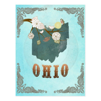 Ohio Map With Lovely Birds Postcard