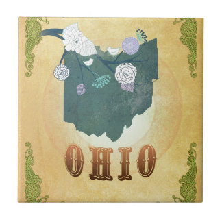Ohio Map With Lovely Birds Tile
