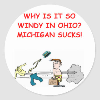 ohio michigan joke classic round sticker
