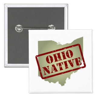 Ohio Native Stamped on Map Pinback Buttons
