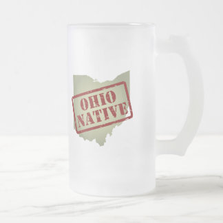 Ohio Native Stamped on Map Frosted Glass Beer Mug