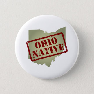 Ohio Native Stamped on Map Pinback Button