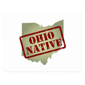 Ohio Native Stamped on Map Postcard