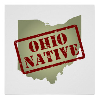 Ohio Native Stamped on Map Poster