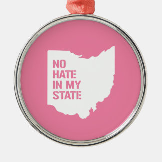 Ohio: Ningún odio en mi estado Adorno Redondo Plateado