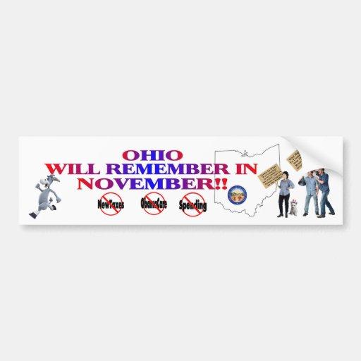 Ohio - ObamaCare anti, nuevos impuestos y gasto Pegatina Para Auto