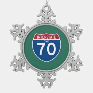 Ohio OH I-70 Interstate Highway Shield - Snowflake Pewter Christmas Ornament