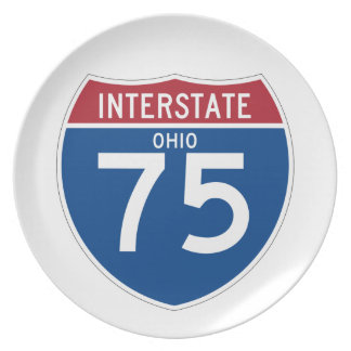 Ohio OH I-75 Interstate Highway Shield - Dinner Plate