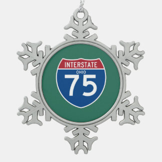 Ohio OH I-75 Interstate Highway Shield - Snowflake Pewter Christmas Ornament