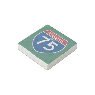 Ohio OH I-75 Interstate Highway Shield - Stone Magnet