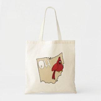 Ohio OH Map & Cardinal Bird Cartoon Art Motto Canvas Bags