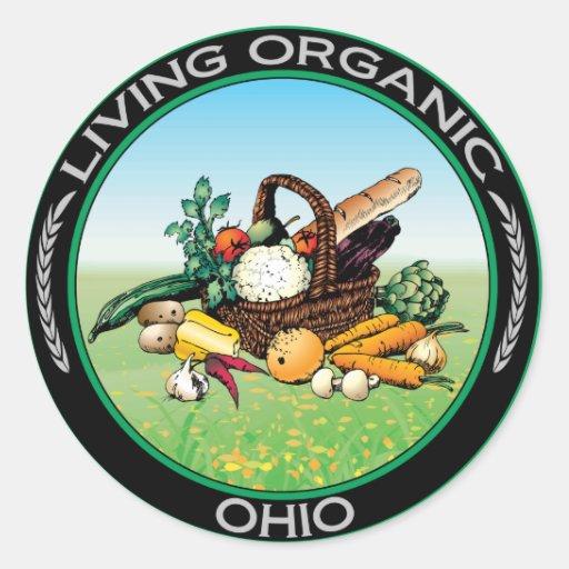Ohio orgánico pegatina redonda