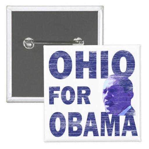 Ohio para el botón cuadrado de Obama Pinback
