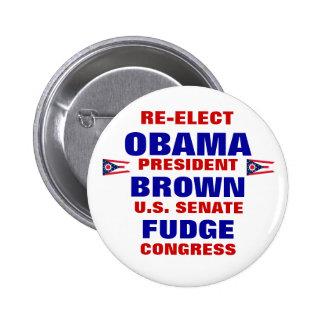Ohio para el dulce de azúcar de Obama Brown Pin Redondo De 2 Pulgadas