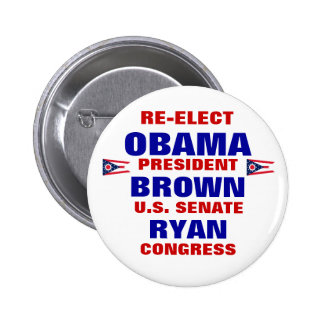 Ohio para Obama Brown Ryan Pin Redondo De 2 Pulgadas