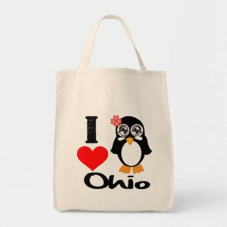 Ohio Penguin - I Love Ohio Tote Bags