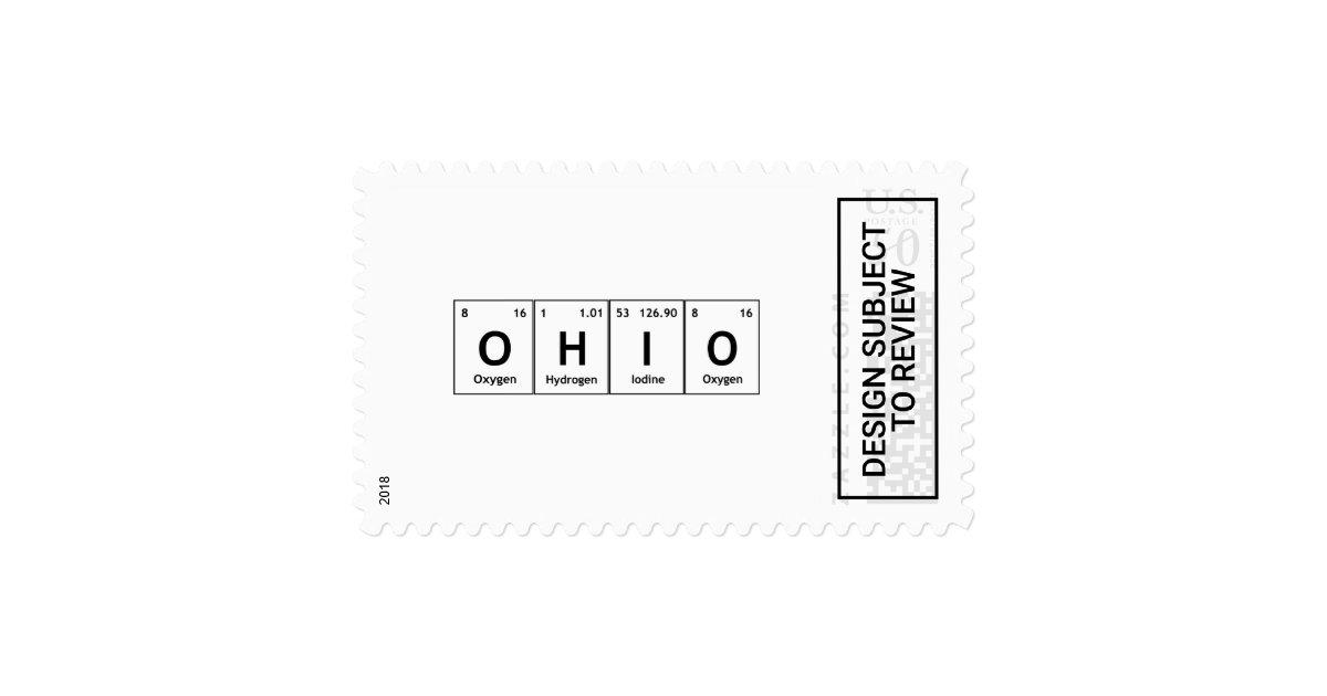 Ohio Periodic Table Elements Word Chemistry Symbol Postage Zazzle